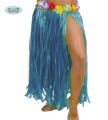 G17638 FALDA HAWAIANA FLORES 75 CMS.AZUL